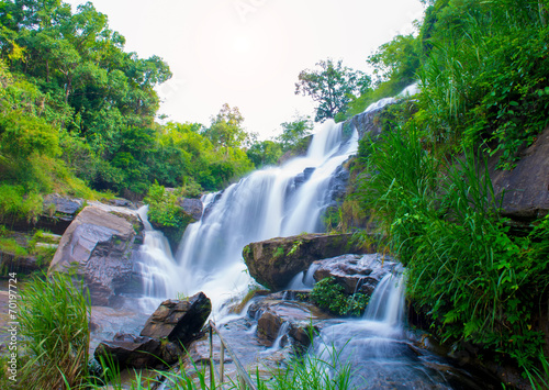 Montage in der Fensternische Forest river A beautiful waterfall in northern Thailand