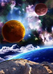Beautiful space scene with planets and nebula