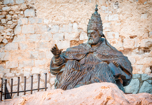 Monument to Papa Luna, in Peniscola Castle, in Valencia, Spain