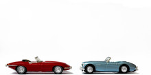 Classic Retro Sports Cars - Red And Blue