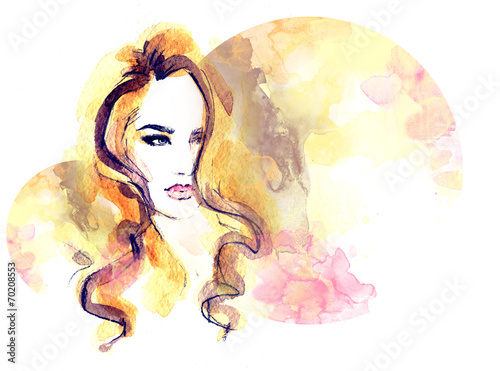 Staande foto Aquarel Gezicht woman portrait .abstract watercolor .fashion background