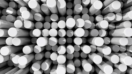 Background of white reflective extruded cylinders or rods at var