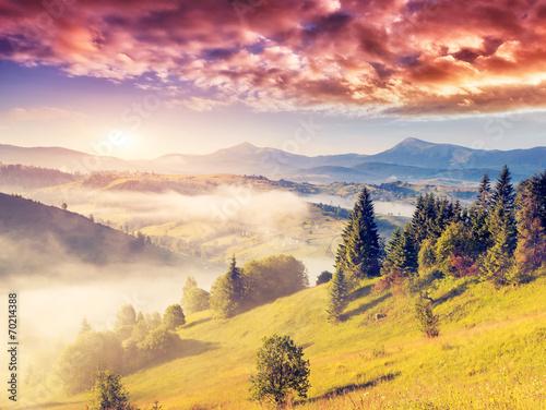 Poster Melon magic mountain landscape