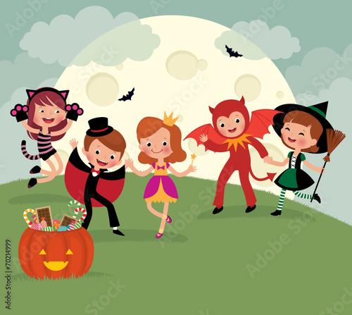 Foto op Canvas Magische wereld Children on Halloween night party