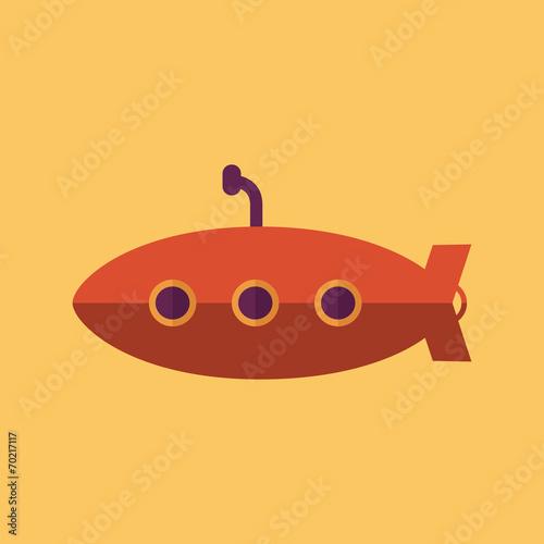 Láminas  Submarine. Transportation Flat Icon