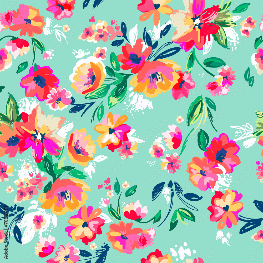 Fototapeta Pretty painted flowers ~ seamless background