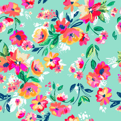 Pretty painted flowers ~ seamless background