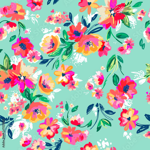 Fotografiet  Pretty painted flowers ~ seamless background