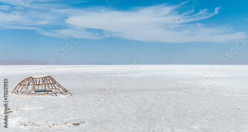 Metal ruin on the salt lake