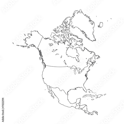 Fototapeta Outline on clean background of the continent of North America obraz