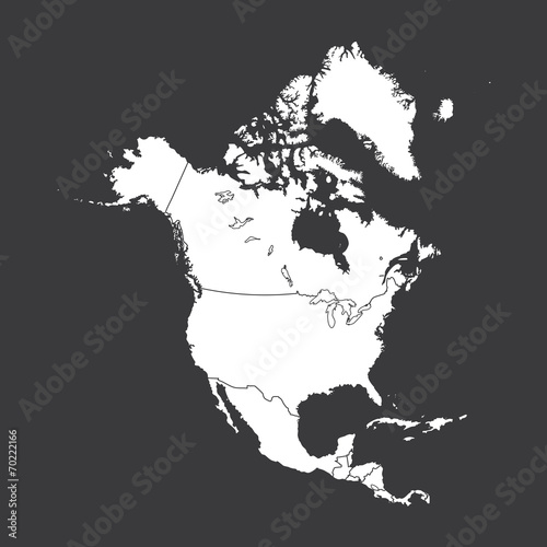 Fotografie, Obraz  Outline on clean background of the continent of North America
