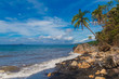 Beautiful tropical beach with black sand. Summer vacation concep