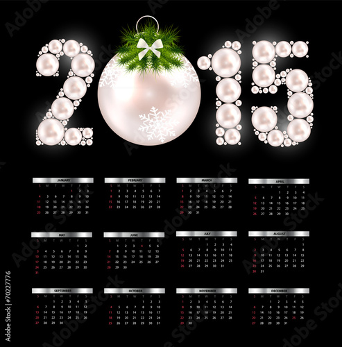 Fényképezés  New Year Calendar 2015. Vector Illustration