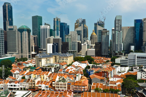 Tuinposter Singapore Aerial view of Singapore Chinatown and Business District