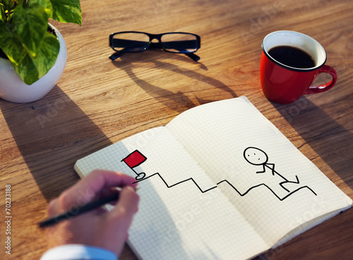 Fotografie, Obraz  Businessman Drawing Goal Concept on a Note Pad