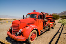 Old Vintage Fire Truck In Death Valley National Park