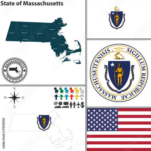 Map of state Massachusetts, USA Canvas Print