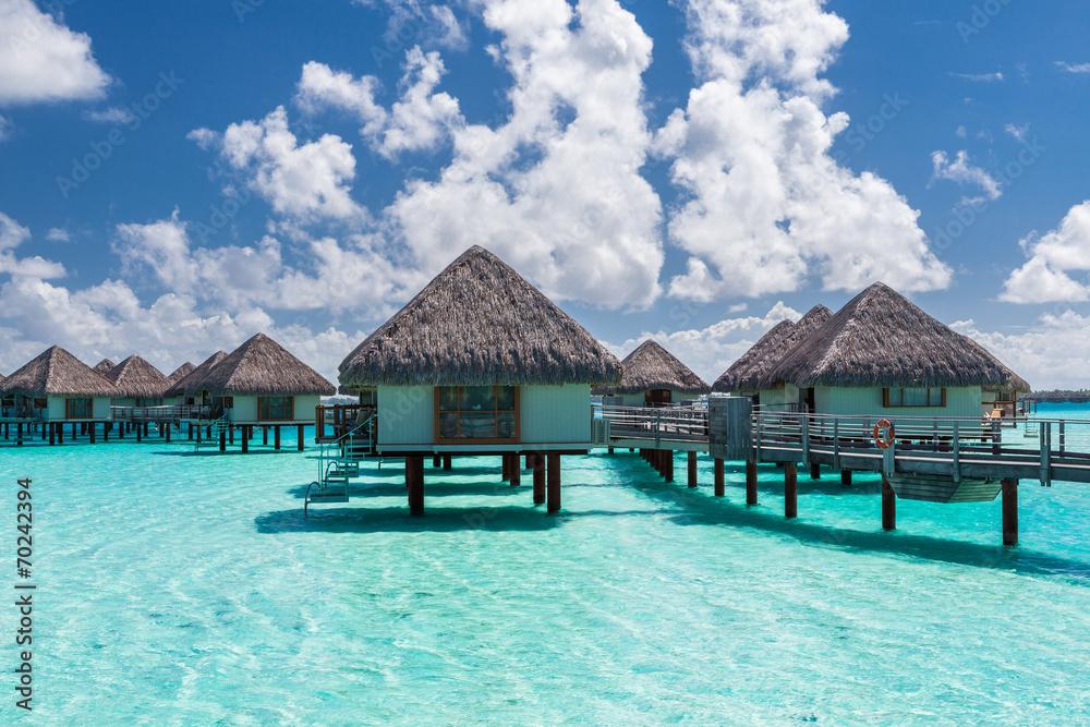 Fototapeta Overwater bungalows in french polynesia. Bora Bora