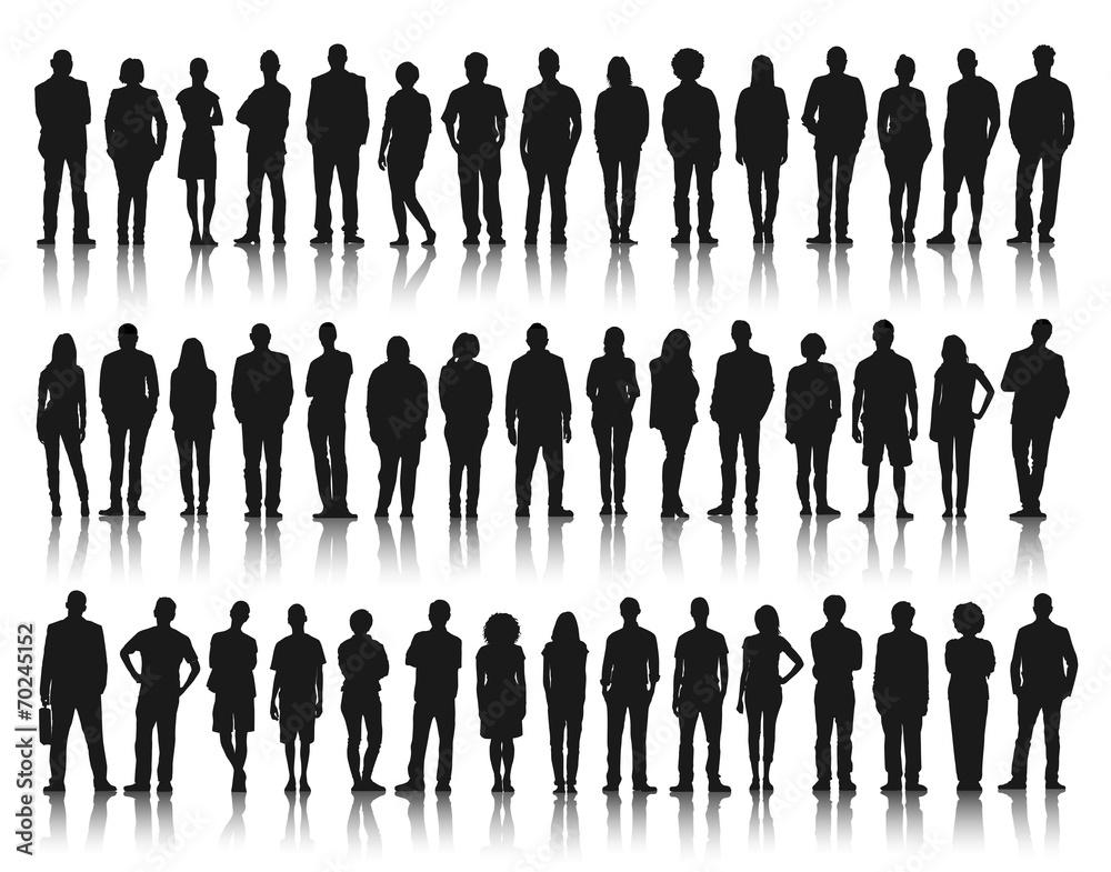 Fototapeta Silhouette Group of People Standing