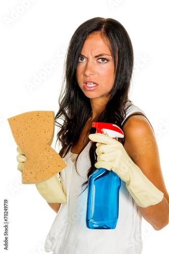 Hausfrau mit Stress beim putzen - kaufen Sie dieses Foto