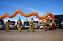 Team Of People Perform Dragon Dance