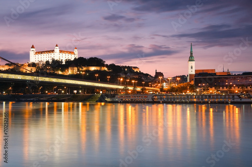 View of the Bratislava castle over the river Danube, Slovakia. Canvas Print