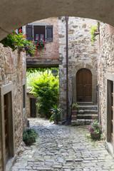 Panel Szklany Podświetlane Uliczki Montefioralle (Chianti, Tuscany)