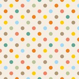 Tile vector pattern with pastel polka dots on beige background - 70255500