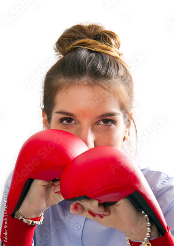 Fotografie, Obraz  business woman boxing