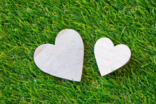Duo Of Hearts On Green Grass