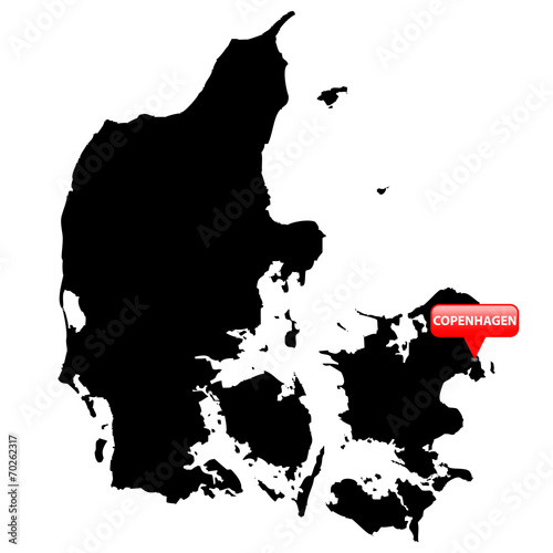 Photo  Map with the Capital in a red bubble - Denmark.