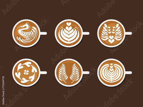 Fotografie, Obraz  Set of Latte Art White Cup