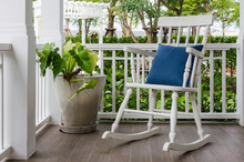 White Wooden Rocking Chair On ...