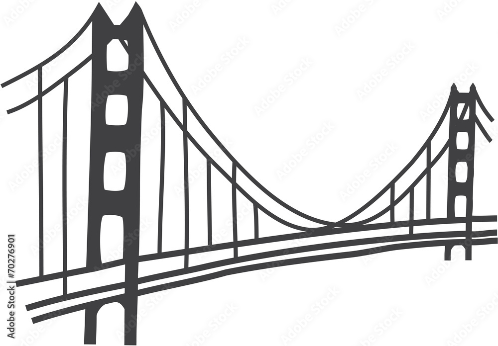 Fotografia Illustration Of Golden Gate Bridge San Francisco