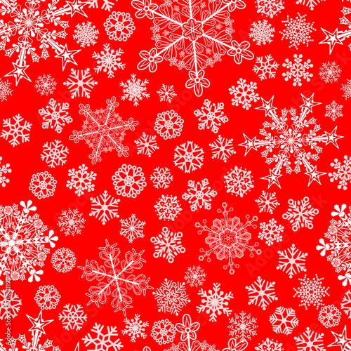 sniezynki-na-czerwonym-tle