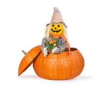 Cute Scarecrow Peeking Out From A Pumpkin Basket