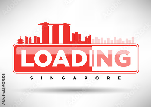 Singapore Skyline Loading Typographic Design Poster