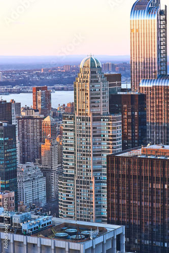 Keuken foto achterwand New York Cityscape view of Manhattan at sunset