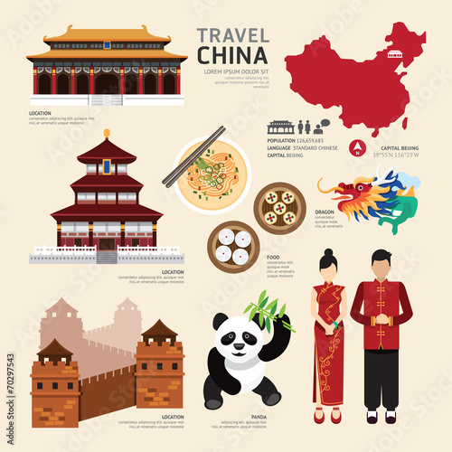 Photo  China Flat Icons Design Travel Concept.Vector