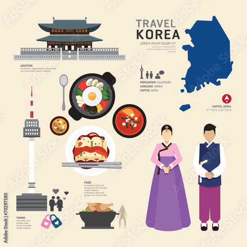 Fotografía  Korea Flat Icons Design Travel Concept.Vector