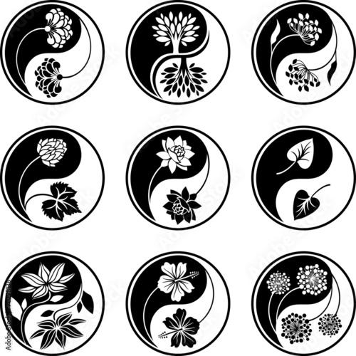 Fotografie, Obraz  Yin Yang floral icons