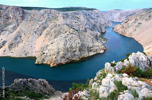 Fotografie, Obraz  Canyon Zrmanja in Croatia- blue-green river Croatia