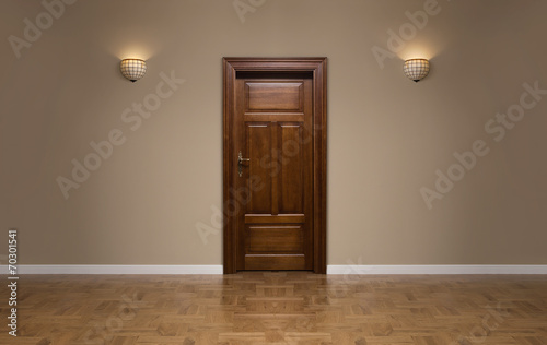 Closed wooden door in the empty room with copy space Canvas Print