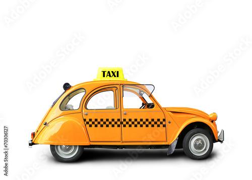 Fotografie, Obraz  Taxi, retro car orange color on the white background