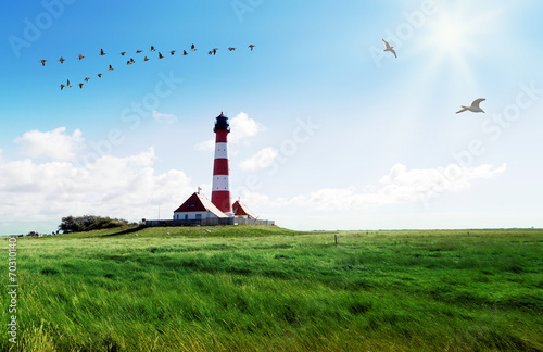 Foto op Aluminium Vuurtoren Nordfriesland, Leuchtturm