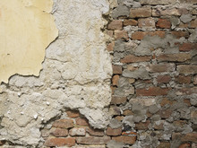 Old Peeled Brick Wall  Divided Into Three Sections