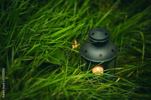Photo  Background with lantern in grass