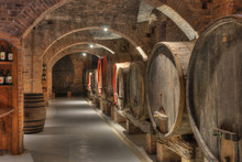 Cellar With Barrels Of Wine