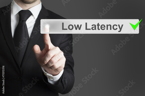 Photo  businessman pushing button low latency