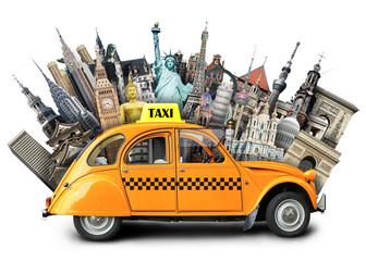 Fototapeta na wymiar Retro taxi on the background of landmarks, travel